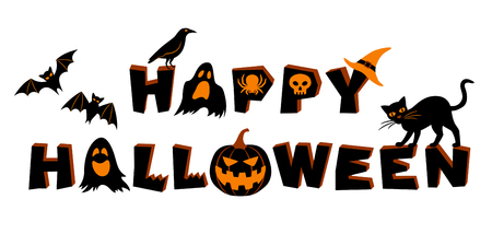 Happy Halloween lettering. Text and vector elements: bats, crow, pumpkin, jack olantern, ghosts, spider, skull, black cat and witchs hat. Vector illustration, isolated on white background