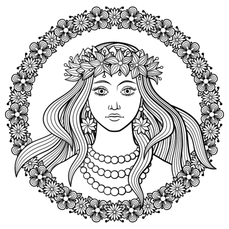 Young beautiful woman in a wreath of flowers on her head, with floral frame. Black and white hand-drawn vector illustration. Coloring page for adults Illustration