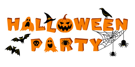 Halloween party lettering. Text and vector elements: bats, crow, pumpkin, jack olantern, ghosts, spider, skull, cobweb and witchs hat. Vector illustration, isolated on white background