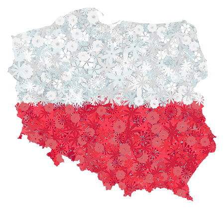 Flag and map of Poland with flowers. Clipping path included in jpeg file Illustration
