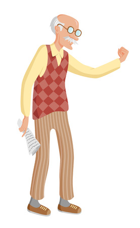 grumpy old man: Angry old man shaking his fist. Grumpy grandpa wearing glasses, diamond patterned waistcoat and striped pants. Senior man with bold head and mustache holding newspaper in his hand Illustration