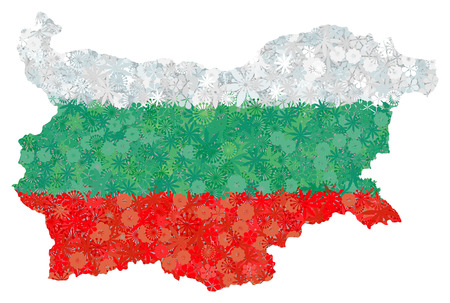 Flag and map of Bulgaria with flowers. Clipping path included in jpeg file Illustration