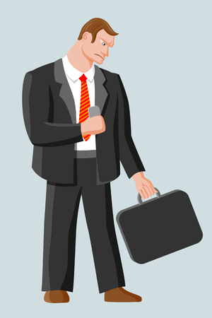 harsh: Strict harsh man with business case and mobile phone. Man with brown hair wearing business suit, white shirt and red striped tie Illustration