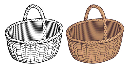 wattle: Empty wicker basket. Stylized handdrawn vector illustration, outline and colored version. Isolated on white
