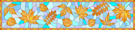 wattle: Panoramic image with autumn leaves in stained glass style