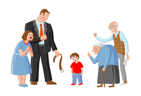Family scolds their child. Father, mother, grandpa and grandma punish boy for mischief. Illustration depicts education, domestic violence and child abuse Vektoros illusztráció