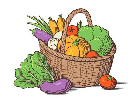 Gemüse im Korb. Stilisiert farbige Vektor-Illustration. Kohl, Kürbis, Auberginen, Tomaten, Zwiebeln, Karotten, Brokkoli, Kopfsalat