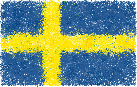 Flag of Sweden with snowflakes Illustration