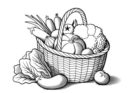Vehículos en cesta de mimbre. ilustración vectorial blanco y negro estilizado. Calabaza, berenjenas, tomates, cebolla, zanahoria, brócoli, lechuga
