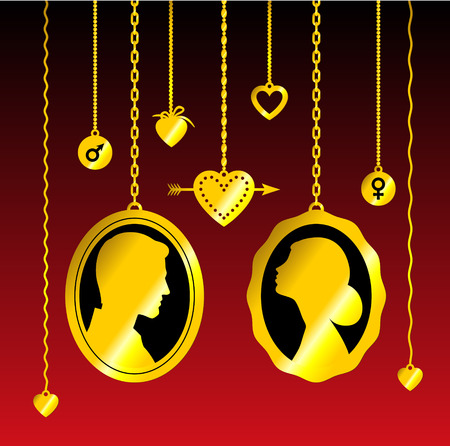 Portraits of man and woman hanging on the chains, with hearts, arrows and symbols of mars and venus. Gold on dark red background. Vector conceptual illustration about love and romantic relationship