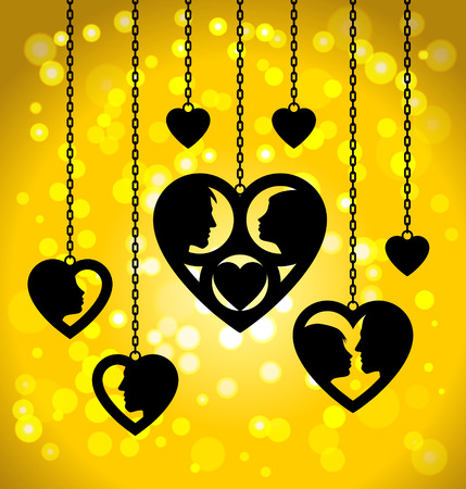 Golden hearts with silhouettes of male and female faces hanging on the chains on golden bokeh background. Conceptual illustration about love and romantic relationship. Vector image