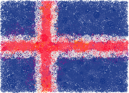 christmass: Flag of Iceland with snowflakes. Christmass background