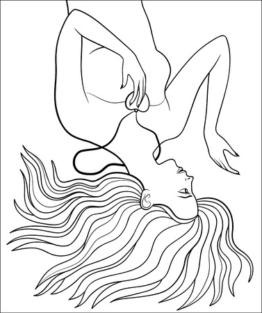 lie down: Pretty girl with heart-shaped pendant. Beautiful woman lying down on the ground with long hair spreading out. Antistress coloring page for adults Illustration