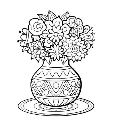 Jarrón Para Las Flores Del Doodle Negro. Colorear Adulto ...