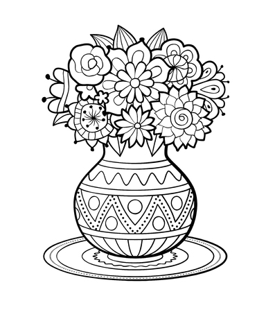 Vase of flowers with geometric ornament standing on round napkin. Black and white outline vector illustration. Antistress coloring page for adults