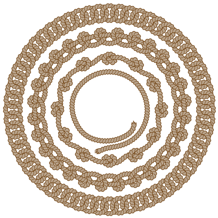 Set of round brown rope frames with knots and loops. Vector image, isolated on white Illustration