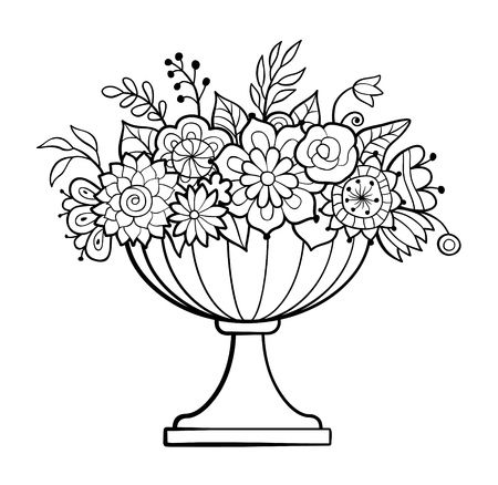 Vase with flowers. Big flower pot. Monochrome vector illustration. Antistress coloring page for adults