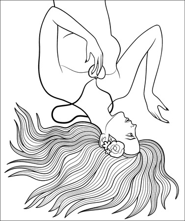 woman laying down: Pretty girl with flowers in her hair and heart-shaped pendant. Beautiful woman lying down on the ground with long hair spreading out. Antistress coloring page for adults