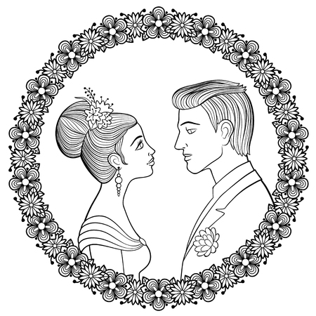 Young couple of lowers looking to each other in decorative floral frame. Woman with hairstyle decorated with flowers in evening dress and man with boutonniere. Antistress coloring page for adults Illustration