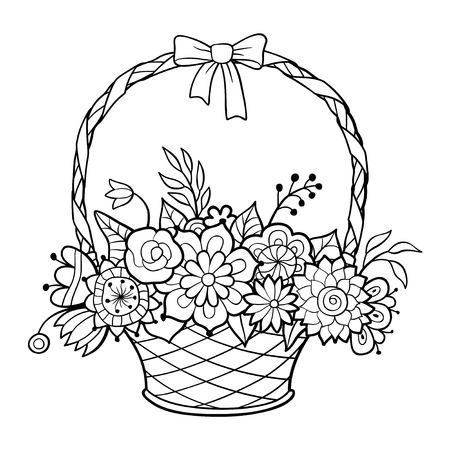 Basket of flowers with hand decorated with ribbon and bow. Black and white outline vector illustration. Coloring page for adults