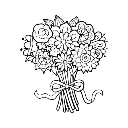 Korb Mit Blumen Mit Der Hand Verziert Mit Band Und Bogen. Schwarz ...