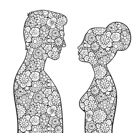 Male and female silhouettes with flowers. Man and woman looking to each other. Couple of lovers. Antistress coloring page for adults. Monochrome vector image, isolated on white Çizim