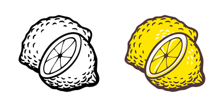 version: Hand drawn vector illustration of lemon. Outline and colored version