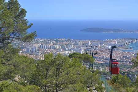 Cable car at Faron mountain. Toulon. France