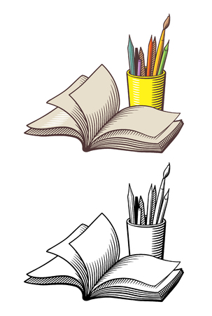 Opened book and pencils in a cup. Stylized vector illustration, outline and colored version