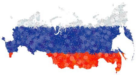 Flag and map of Russian Federation with flowers. Clipping path included in jpeg file
