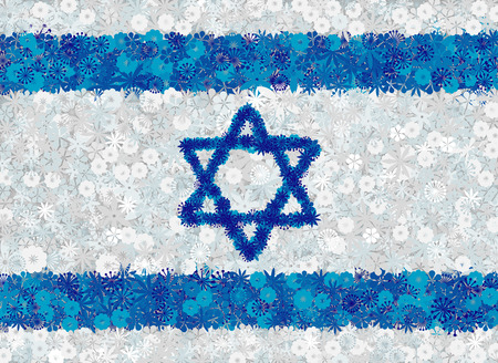 Flag of Israel with flowers. Floral vector conceptual background Illustration