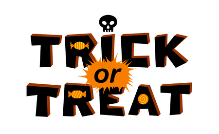 Trick or treat lettering. Vector illustration, isolated on white background