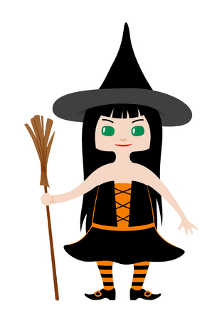 chibi: Little girl with long black hair and green eyes dressed in witch costume for Halloween. Vector illustration in chibi style Illustration