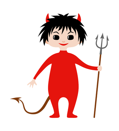 Kid wearing costume of devil for Halloween. Vector flat illustration in chibi style