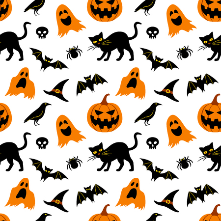 Vector seamless pattern for Halloween. Seamless background with Halloween elements: jack-o-lantern, black cat, ghosts, raven, bats, witchs hat, skull and spider