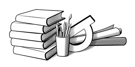 Still life with stationary items. Black and white retro-style vector illustration. Pile of books, pencils and pens in a cup, protractor and paper rolls