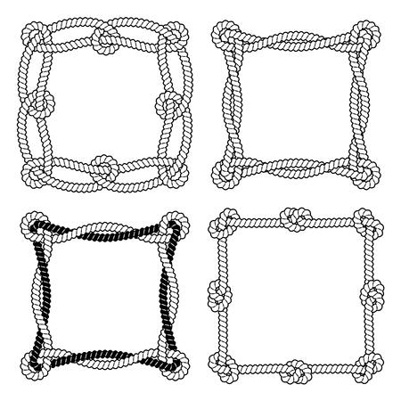 Set van 4 zwarte en witte touw vector vierkante frames met knopen en lussen.