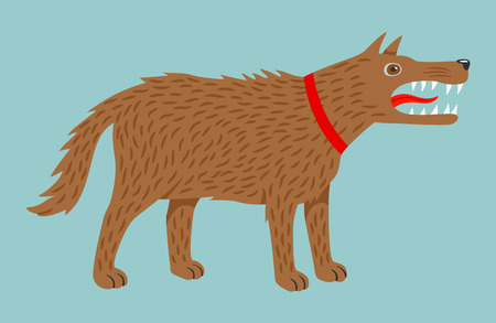 Angry evil brown dog in red collar. Vector illustration, isolated on blue background.