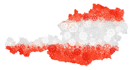 Flag and map of Austria with snowflakes. Clipping path included in jpeg file.