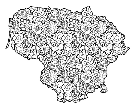 Map of Lithuania with flowers. Black and white vector illustration, coloring page for adults Векторная Иллюстрация