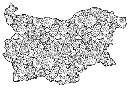 Map of Bulgaria with flowers. Black and white vector illustration, coloring page for adults