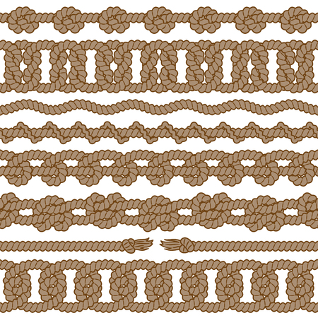 Set of monochrome rope vector seamless borders with knots, loops and tassels