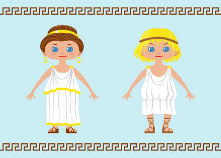 Two characters in chibi style wearing traditional ancient Greek costumes