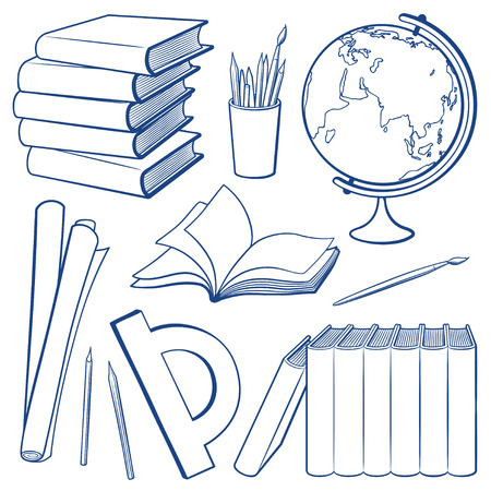 Set of objects. Education tools and study equipment. Stack of books, pencil cup, globe, paper roll, protractor, brushes and pencils. Outline monochrome vector illustration