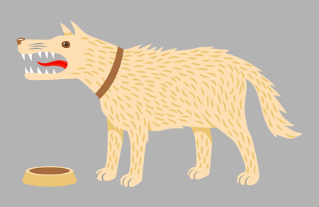 Angry evil dog in a brown collar and a dog bowl. Vector illustration on grey background Illustration