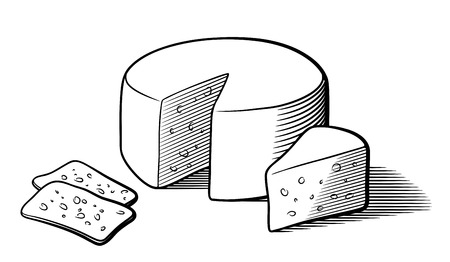 Stylized black and white vector illustration of cheese. Cheese wheel and slices. Isolated on white