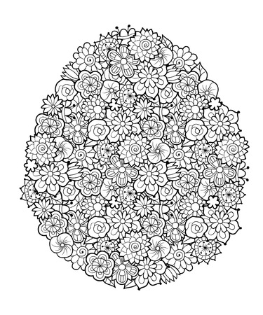Floral pattern shaped as Easter egg. Hand drawn black and white vector illustration. Antistress coloring page for adults