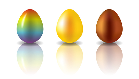 Set of 3 Easter eggs painted in different colors. Rainbow, golden and chocolate eggs. Semi realistic vector illustration, isolated on white