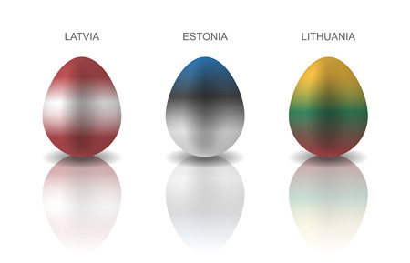 Set of 3 Easter eggs painted in the colors of Baltic countries flags: Lithuania, Estonia and Latvia. Semi realistic vector illustration, isolated on white background Çizim