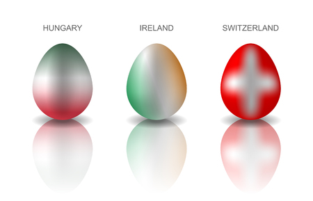 Set of 4 Easter eggs painted in the colors or European countries flags: Hungary, Ireland and Switzerland. Semi realistic vector illustration, isolated on white background